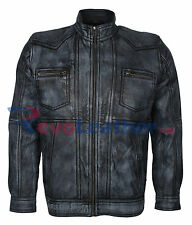 Grey Waxed Vintage Mens Casual Wear Stylish Biker Nappa Leather Jacket