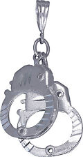 Sterling Silver Handcuffs Charm Pendant Necklace Diamond Cut Finish with Chain