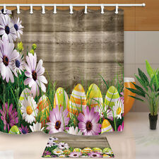 Easter eggs Waterproof Fabric Shower Curtain Liner Doormat Rugs Bathroom Decor