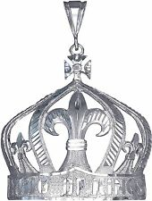 Sterling Silver King Crown Charm Pendant Necklace Diamond Cut Finish with Chain