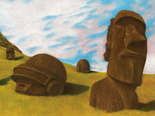Daft Punk Painting Easter Island Music Art HUGE GIANT PRINT POSTER