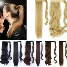 Wrap Around Clip In On Ponytail Hair Extensions Pony Tail Straight Hair Piece MT