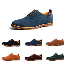 Classic Men's Casual Suede leather Shoes oxfords Flats Lace Sneakers Up US 6-13