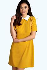 NEW Boohoo Womens Robin Contrast Collar Dress in Polyester