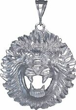 Sterling Silver Lion Pendant Necklace Diamond Cut Finish 2.9 Inhces 24.2 Grmas