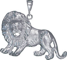Sterling Silver Lion Pendant Necklace Diamond Cut Finish 2.32 Inhces 21.1 Grmas