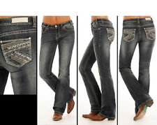 34x30 Rock & Roll Cowgirl W1-1390 JUNIORS MID RISE BOOT CUT JEAN W/ EMBROIDERY