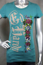 Ed Hardy Butterfly Skull Love and Roses T-shirt TEAL