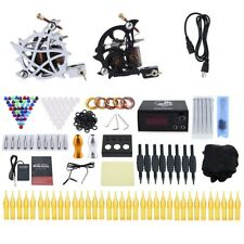 Tattoo Kit 10 Wrap Coils Shader 2 Punching Machine Gun Power Supply 50 Needles