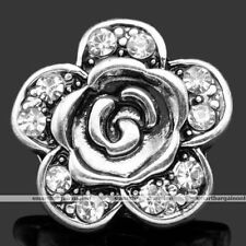 1 X VINTAGE TIBETAN SILVER CRYSTAL ROSE SNAP-ON-CHARM FOR NOOSA STYLE BRACELET