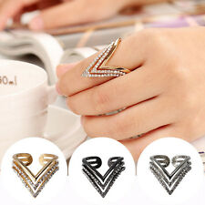 Women's Fashion Hollow Diamond Black/Gold/Silvery V Shaped Ring Charm Jewelry