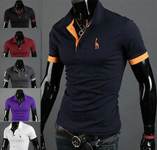 Mens Fashion Short Sleeve T-shirt Tops Tee POLO Shirt New Slim Fit Casual Style