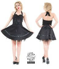 HEARTS AND ROSES H&R LONDON BLACK SHORT FLARED LOLITA GOTH GOTHIC DRESS