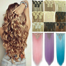 Full Head Clip in Hair Extensions Clip on Real Long Natural as Human Style Lady