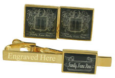 Coat of Arms Family Crest Personalised Name Gold Engraved Cufflinks Tie Clip etc