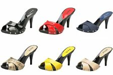Qupid women's x-band slides platform sandals 3.75 inch stiletto high heel shoes