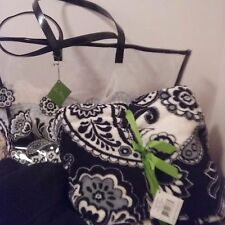 VERA BRADLEY CLEARLY COLORFUL TOTE/THROW BLANKET Midnight Paisley  NEW