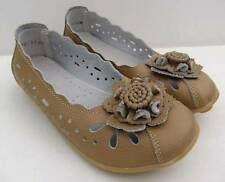 LADIES Auyi BEIGE Soft FULL LEATHER FLATS Ballet Comfort Work Flexi WALK Shoes
