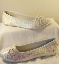 White Satin Sequined Ballerina Shoes Sizes 5-6, 8
