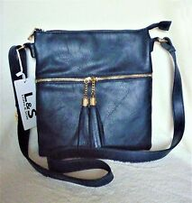 Leather look PU messenger bag with shoulder strap and front tassels.