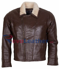Mens Chocolate Brown Fur Lined Winter Bomber Motorcycle  Leather Jacket