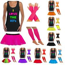 LADIES 80S FANCY DRESS VEST TUTU SKIRT GLOVES NEON PARTY FANCY DRESS HEN PARTY
