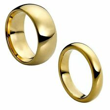 8MM Men OR 6MM WOMEN Tungsten Carbide Yellow Gold Shiny Wedding Band Ring Set