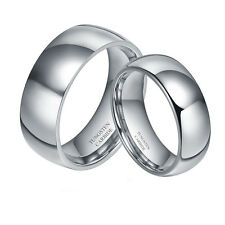 8mm Men OR 6mm LADIES Tungsten Carbide Silver Shiny Wedding Band Ring Set