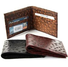 Genuine Leather Bifold Wallet Ostrich Embossed 5 Credit Card, 1 ID, 2 Bill Mens