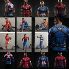 Marvel Superhero Compression T-shirt Long Pants Sportswear Gym Cosplay Clothes