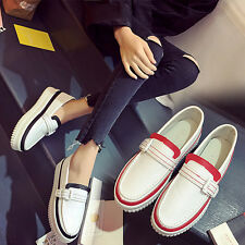 Womens Loafers Pumps Low Top Round Toe Mid Heel Casual Shoes Slip On Comfy Hot