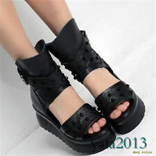 Womens Black Leather Gladiator Sandals Spike Studded Platform Wedges Creepers