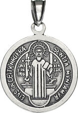 Sterling Silver Saint Benedict Medal Reversible Charm Pendant Necklace. Oxidized