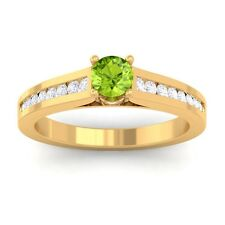 Green Peridot EF VVS Round Diamond Women Gemstone Wedding Ring 14K Yellow Gold