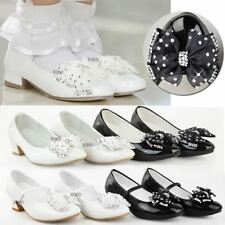 Girls Childrens Kids Low Heel Diamante Bow Wedding Flower Party Sandals Size New