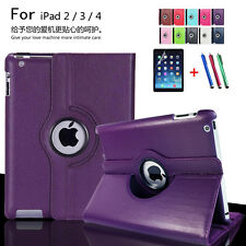 Case for Apple ipad 2 3 4 PU Leather Stand Flip Screen Protector+film+Pen