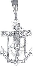 Sterling Silver Anchor Cross with Jesus and Hearts Charm Pendant Necklace 1.5""
