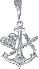 Sterling Silver Anchor Cross and Heart Charm Pendant Necklace with 24 Inch Chain