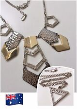 NWT Silver Gold Tone Guess Woman Designer Necklace - Triangle w Crystal GN41