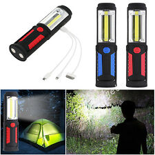 USB Rechargeable COB LED Work Light Magnetic Base Torch Emergency Lamp Outdoor