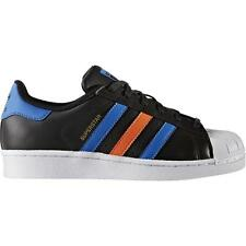 Adidas Originals Superstar Youth Black/Blue Leather Trainers