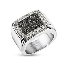 KNIGHT RING MENS Color Silvered and stone Zircon Black Ideal Wedding ring