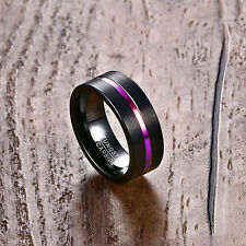 8mm Men Women Tungsten Carbide Steel Wedding Engagement Black Band Ring Size6-13
