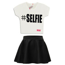GIRLS '#SELFIE CROP TOP & SKIRT SET KIDS CHILDREN OUTFIT AGE 7 to 13 YEARS