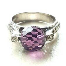 (SIZE 6,7,8) FUN SPINNING Purple Crystal Ball RING CZ Stones 925 STERLING SILVER
