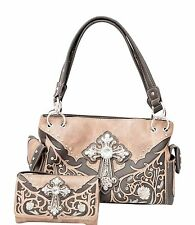 Western Rhinestone Cross Roses Vines Carry Concealed Handbag and Wallet Brown