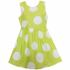 New Summer Girls Dress Yellow Dot Dresses Party Birthday Casual Children Clothes