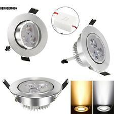 9W 85-265V Warm White Cool White Silver LED Ceiling Recessed Down Light B0N02