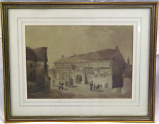 Large Sepia W. Col Drawing Painting Of The George Inn Norton St Phillip Bath