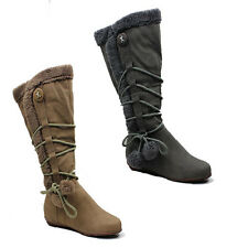 WOMENS LADIES FLAT MID CALF FUR ROPE POMPOMS DETAILS BOOTS SHOES SIZE 3-8
